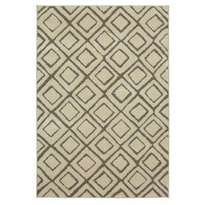 Squares Cream 8 ft. x 10 ft. Area Rug