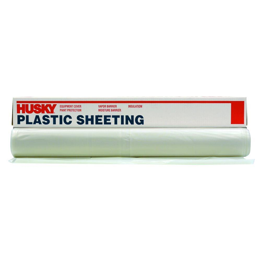 Husky 12 Ft X 50 Ft Clear 6 Mil Plastic Sheeting Cf0612 50c The Home Depot