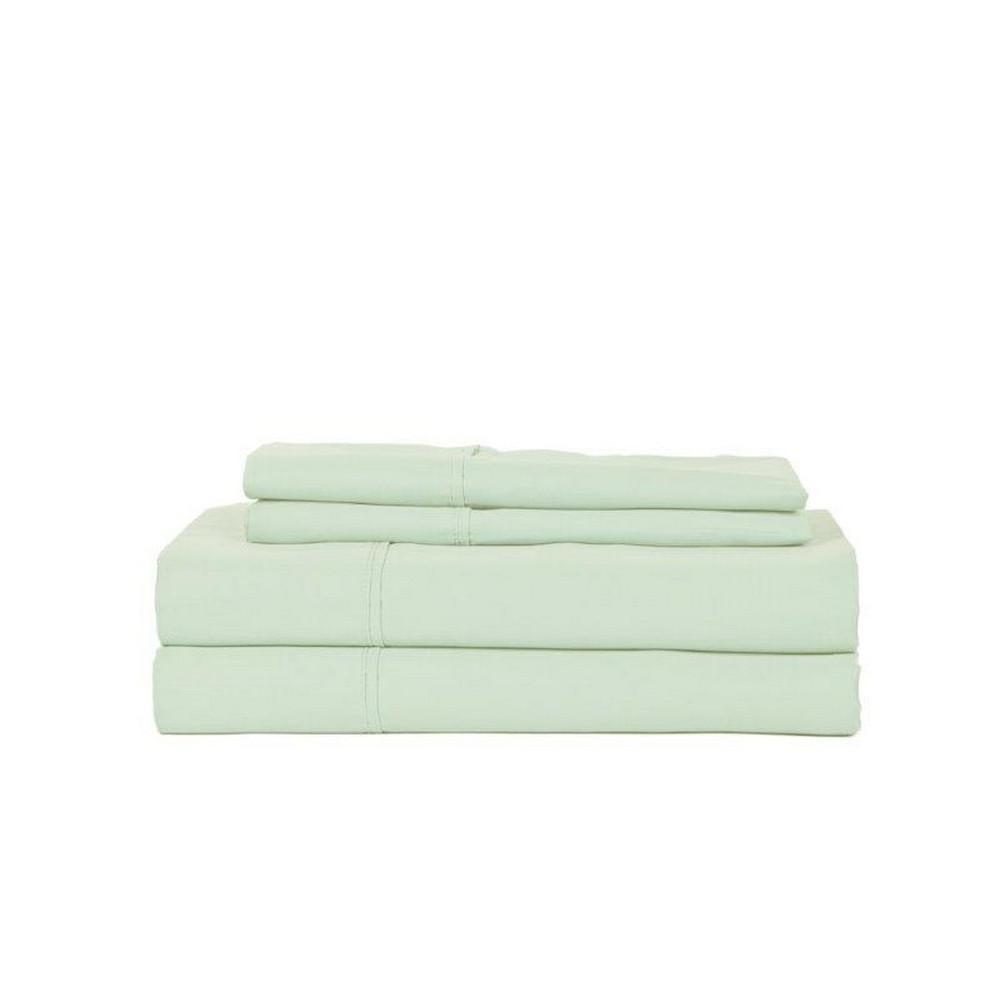 PERTHSHIRE 4-Piece Celedon Cotton Queen Sheet Set T310Q-PL-CELD