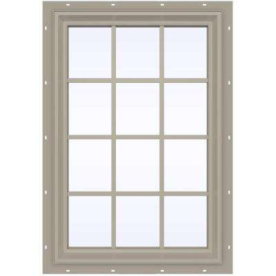 35.5 in. x 47.5 in. V-2500 Series Desert Sand Vinyl Fixed Picture Window with Colonial Grids/Grilles