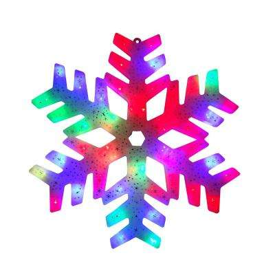 15 in. LED Color Changing Christmas Snowflake Window Silhouette Decoration (4-Pack)