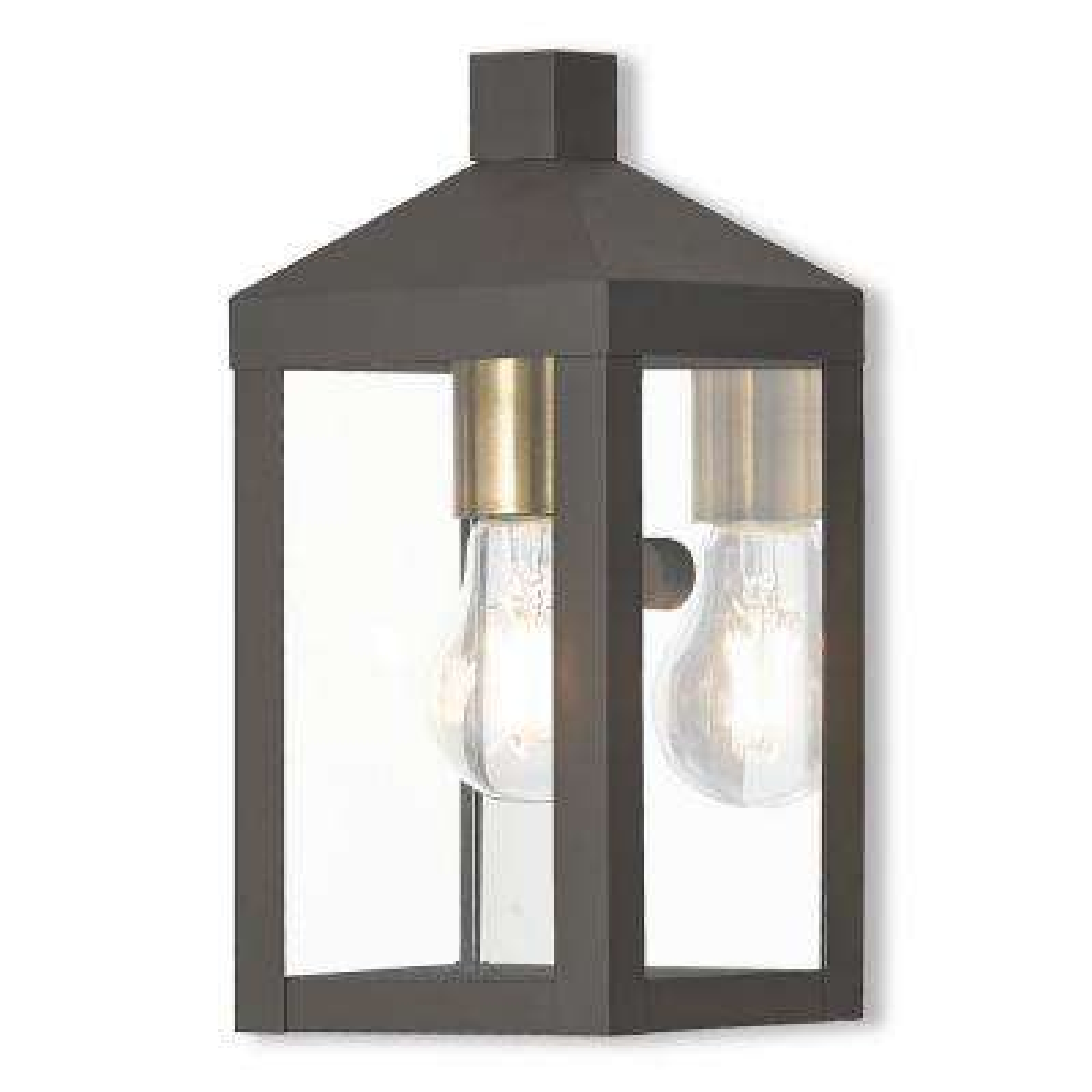 Nyack Collection 1-Light Bronze Outdoor Wall Mount Lantern