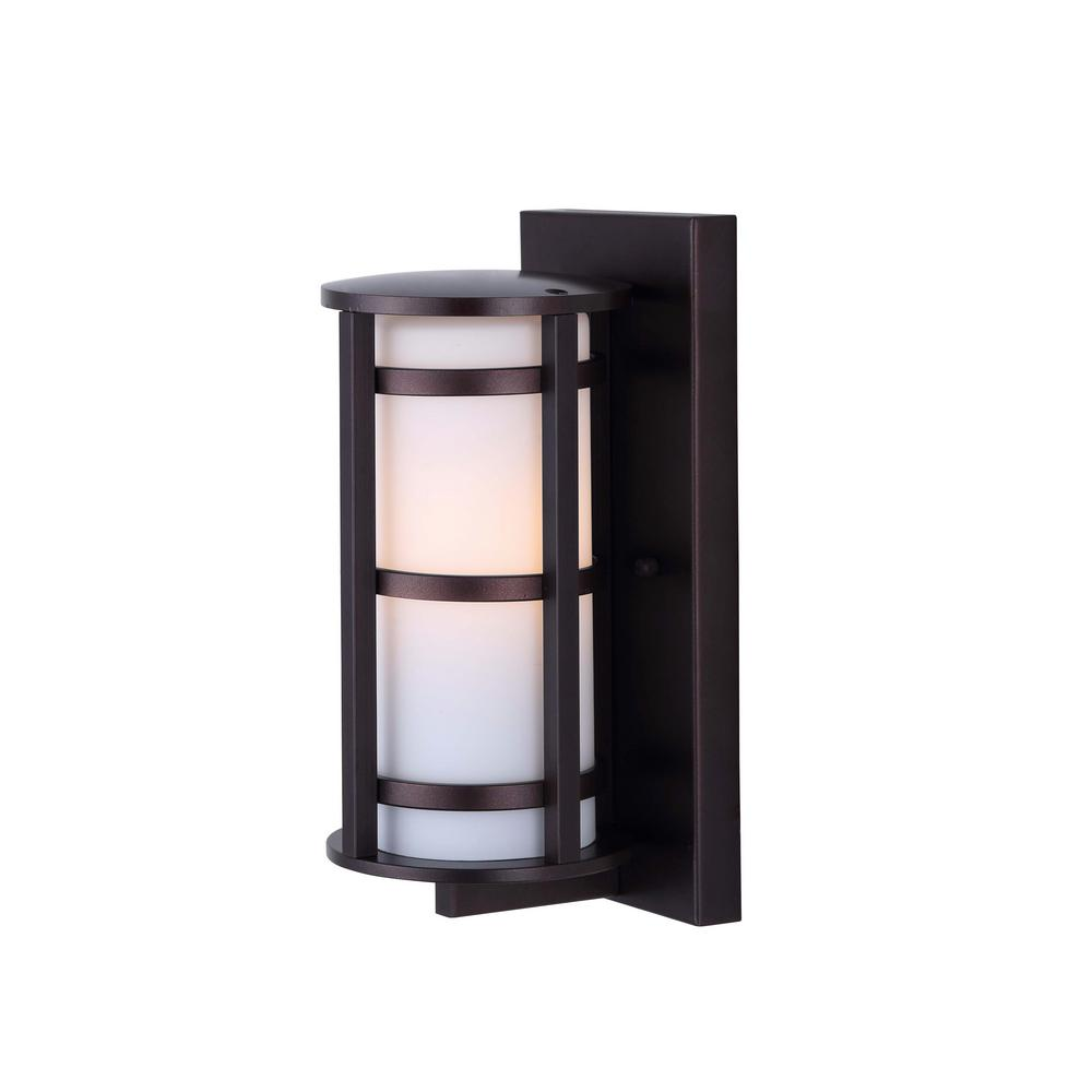 Canarm Bryant 1 Light Oil Rubbed Bronze Outdoor Wall With Flat Opal Glass