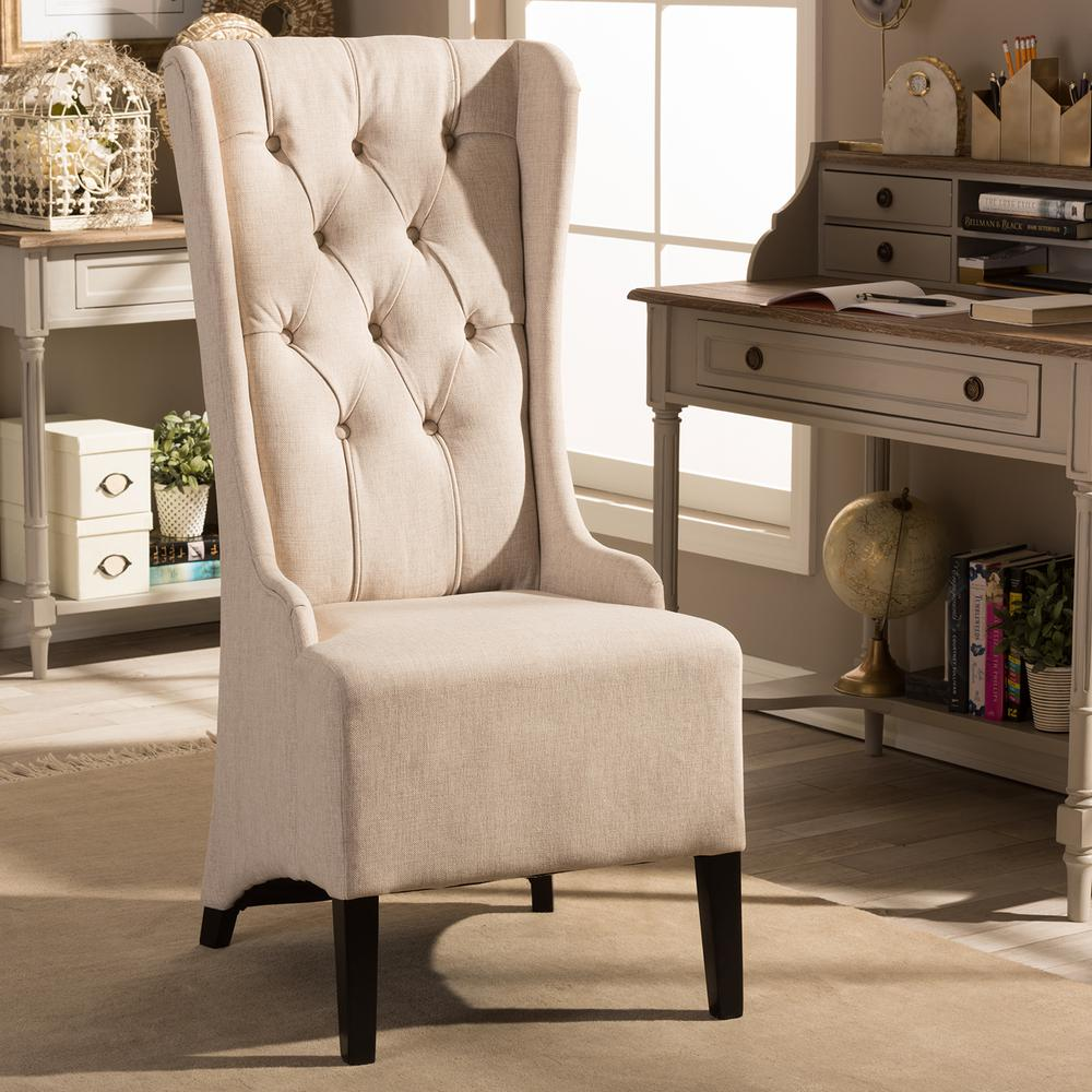 Baxton Studio Vincent Beige Fabric Upholstered Accent Chair