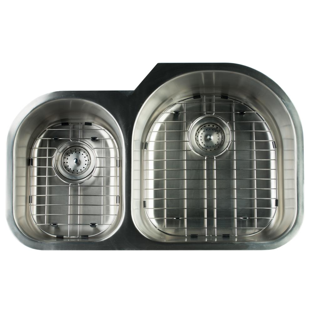 Glacier Bay Undermount Stainless Steel 31 in. 0-Hole Double Bowl ...