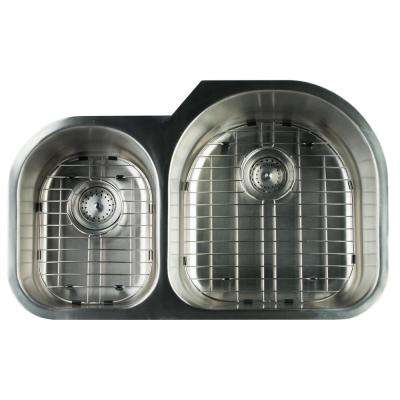 Undermount Stainless Steel 31 in. 0-Hole Double Bowl Kitchen Sink with Grids and Strainer