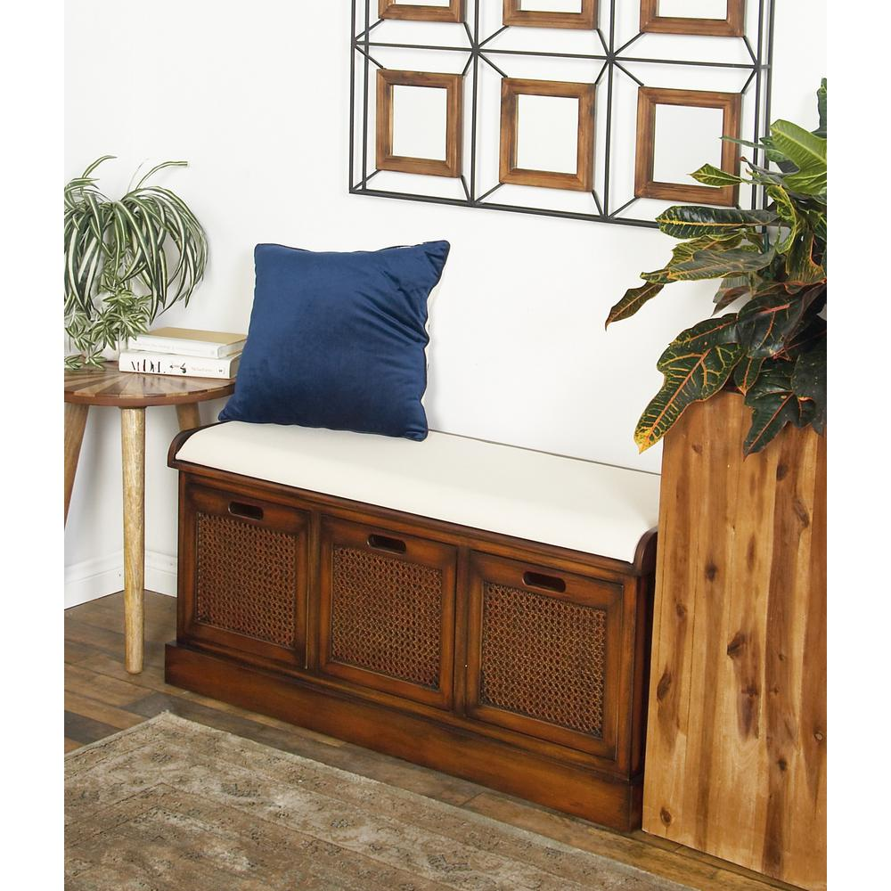 Brown 3-Drawer Storage Bench with White Cushion on Top