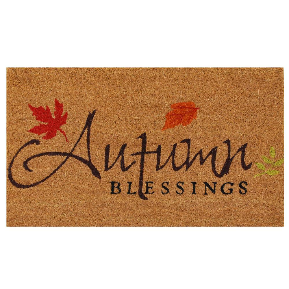 Autumn Blessings 17 in. x 29 in. Coir Door Mat