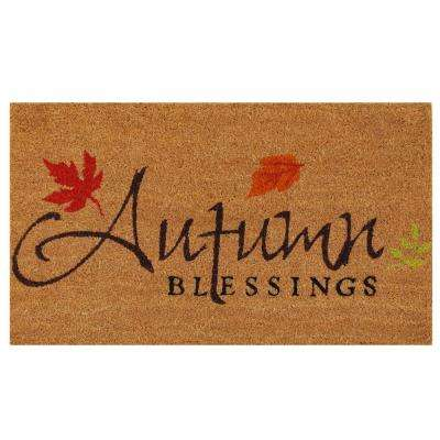 Autumn Blessings 17 in. x 29 in. Coir Door Mat