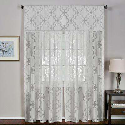 Montego 52 in. W x 15 in. L Ironwork Sheer Window Valance in White