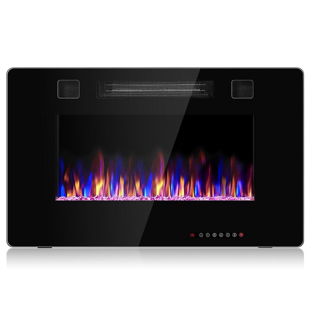 Electric Remote Control 5000 BTU 30 in. Wall Electric Fireplace in Black