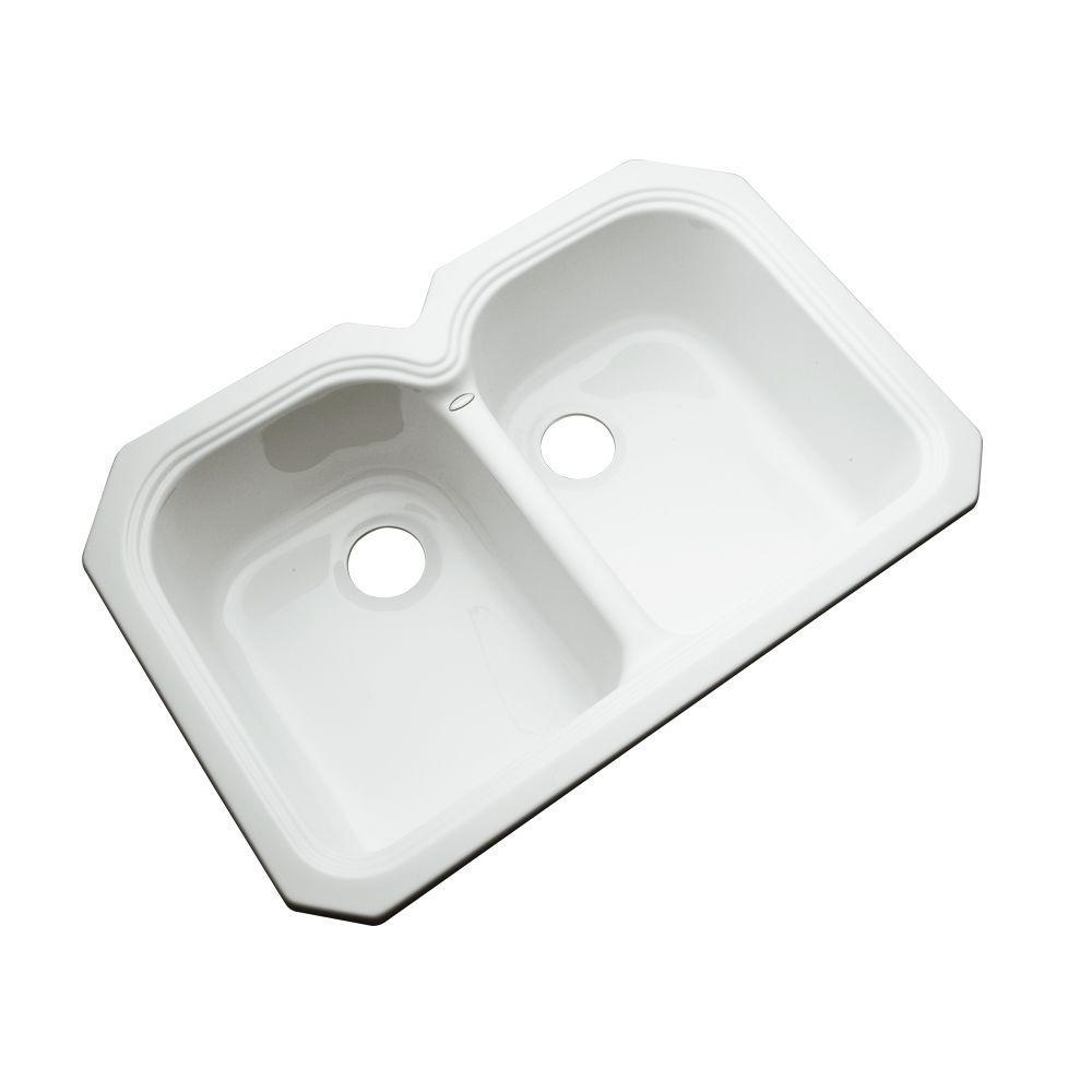 Hartford Undermount Acrylic 33 in. Double Bowl Kitchen Sink in White