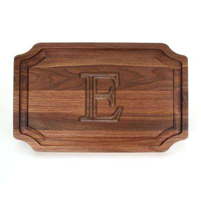 Selwood 1-Piece Walnut Cutting Board with Carved E