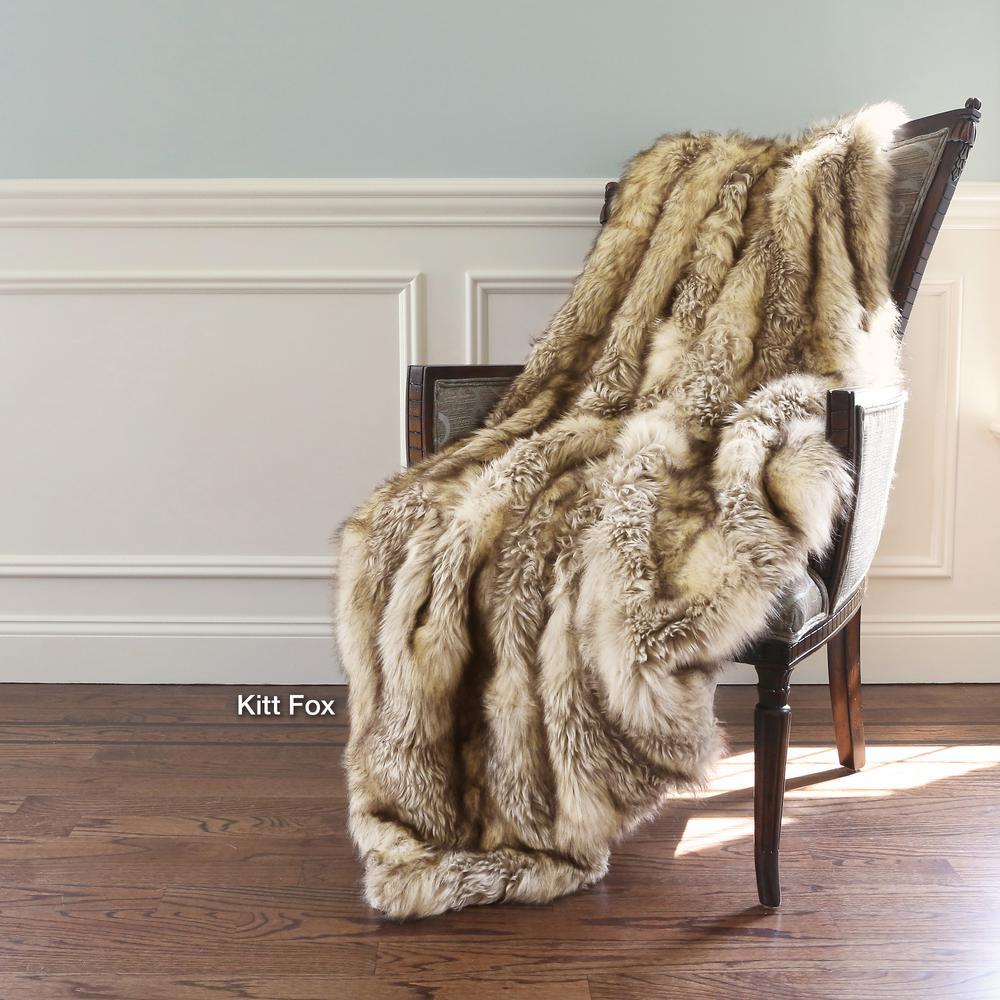 Wild Mannered 58 in. x 60 in. Kitt Fox Faux Fur Throw