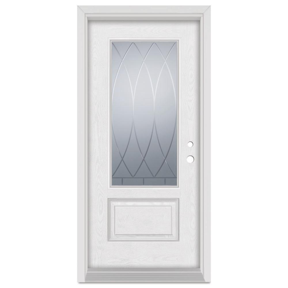 37.375 in. x 83 in. V-Groove Left-Hand 3/4 Lite Finished Fiberglass Oak Woodgrain Prehung Front Door Brickmould
