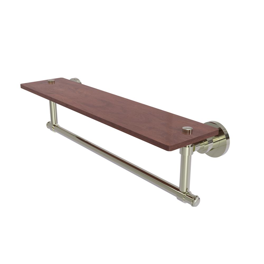 Allied Brass Washington Square Collection 22 in. Solid IPE Ironwood Shelf with Integrated Towel Bar in Polished Nickel
