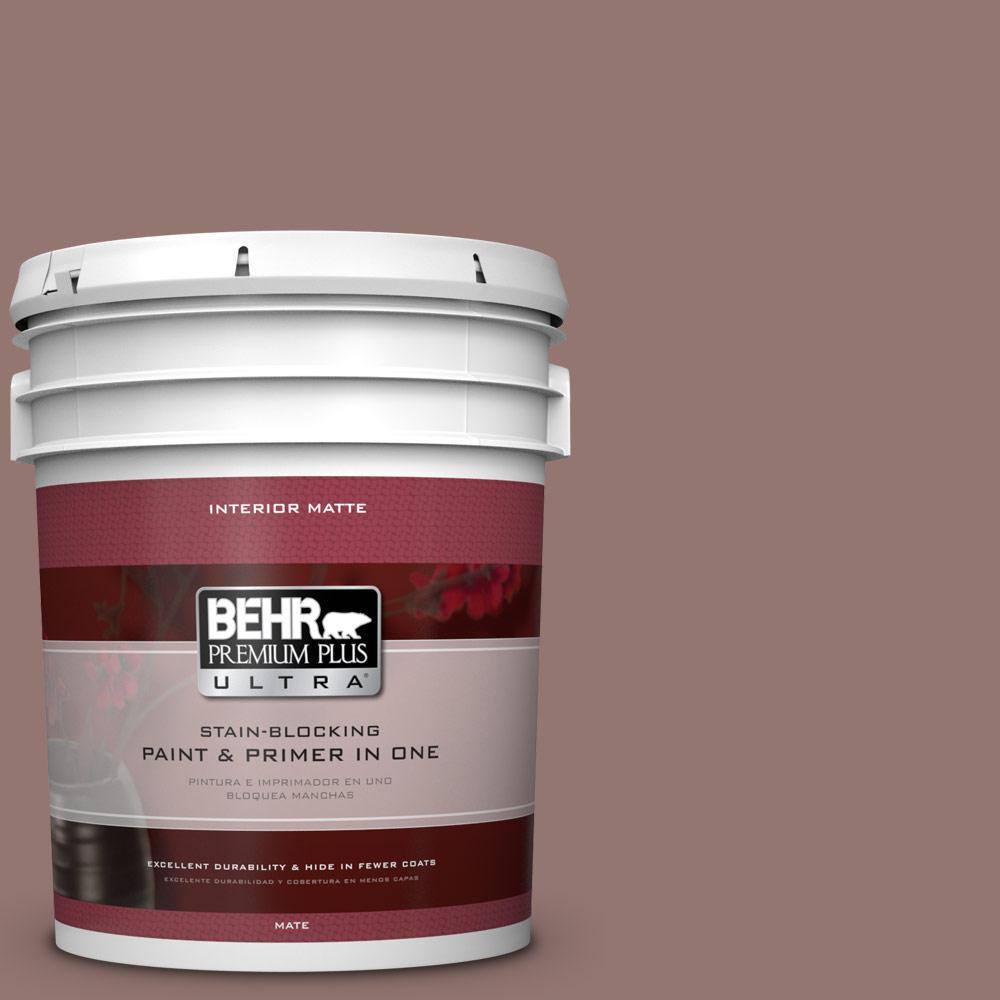 5 gal. #710B-5 Milk Chocolate Matte Interior Paint and Primer in