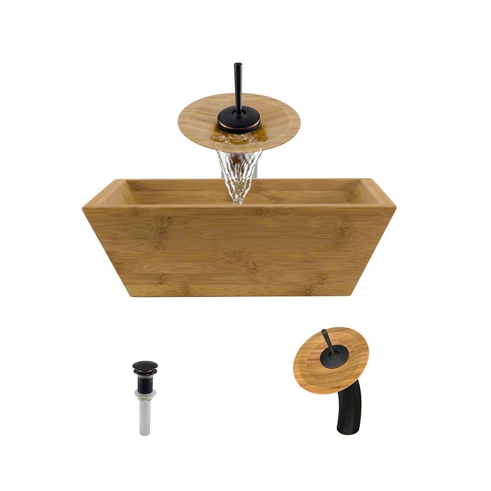 Mr Direct Vessel Sink In Bamboo With Waterfall Faucet And Pop Up
