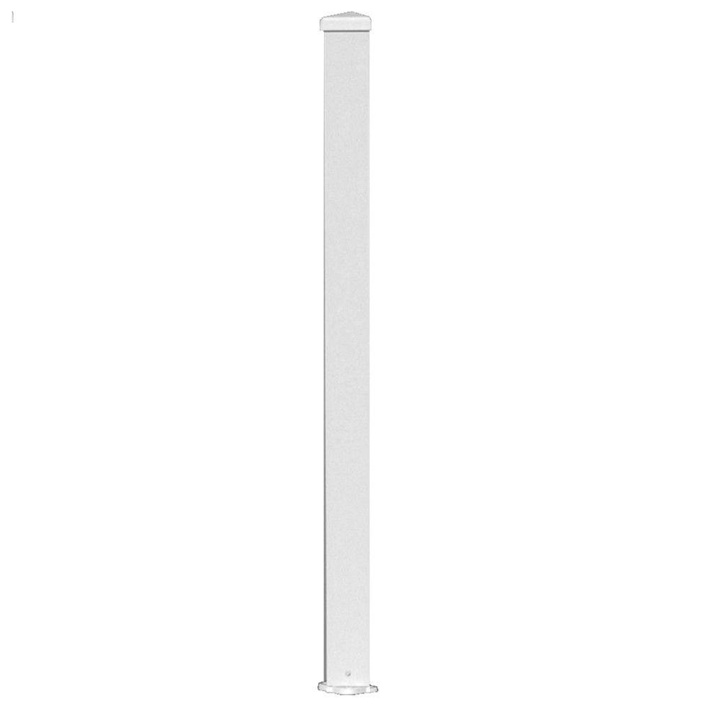 null 3 in. x 3 in. x 38 in. White Aluminum Post Kit