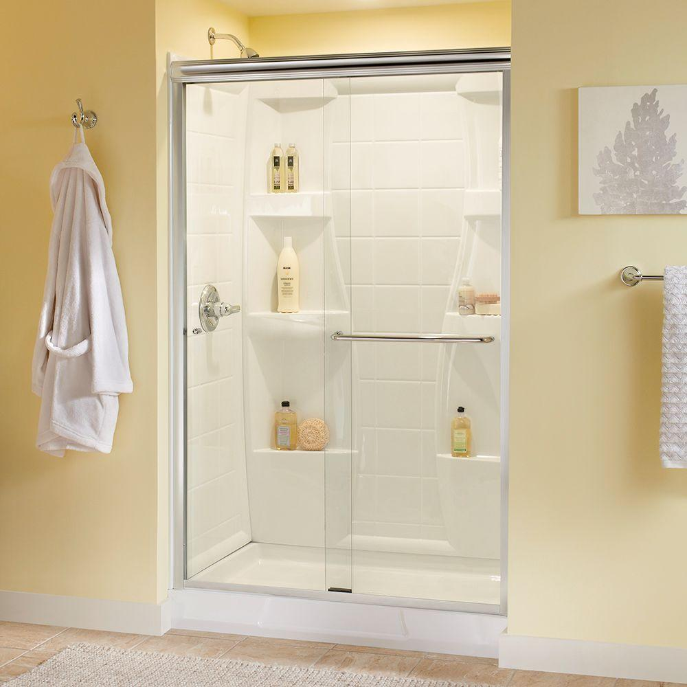 Delta simplicity 48 in x 70 in semi frameless sliding shower door delta simplicity 48 in x 70 in semi frameless sliding shower door in white with bronze handle and clear glass 2421878 the home depot eventshaper