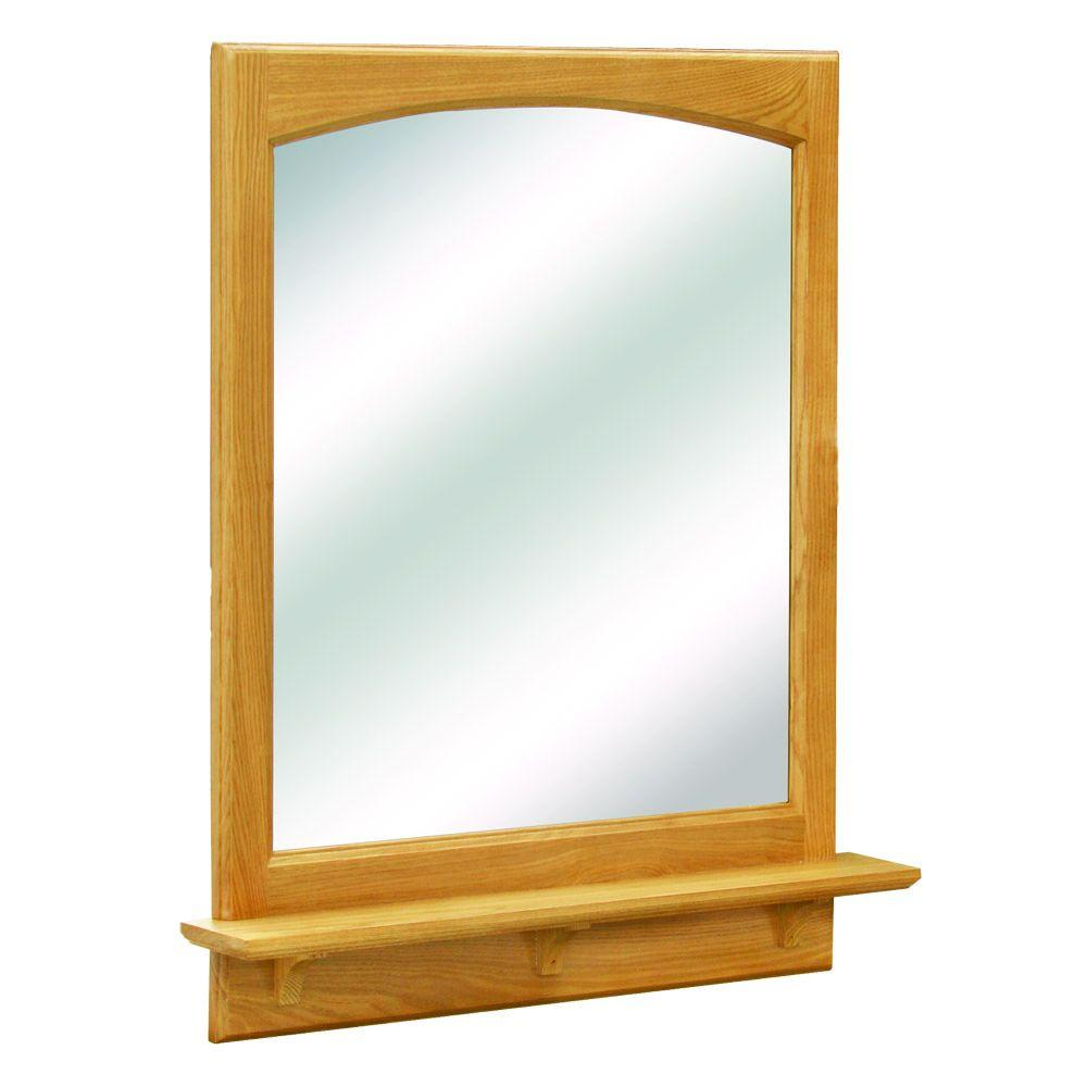 Design House Richland 31 in. L x 24 in. W Framed Wall Mirror with Shelf in Nutmeg Oak