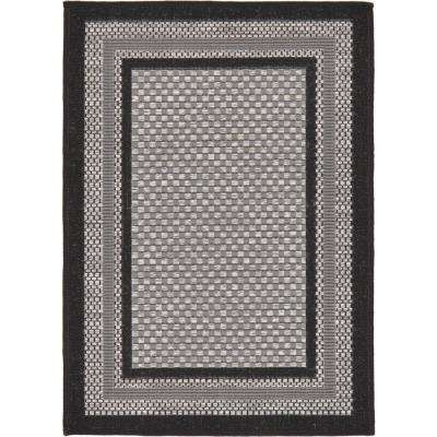 Outdoor Multi Border Gray 2' 2 x 3' 0 Area Rug