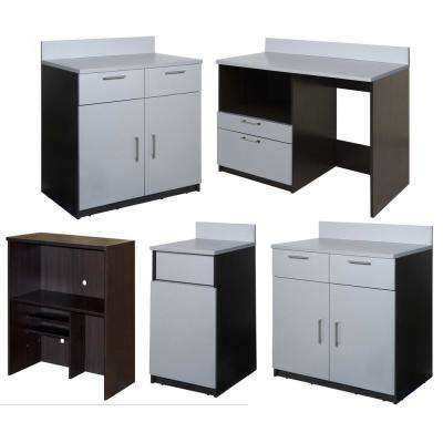 Coffee Kitchen Espresso / Silver Sideboard with Lunch Break Room Functionality with Assembled Commercial Grade
