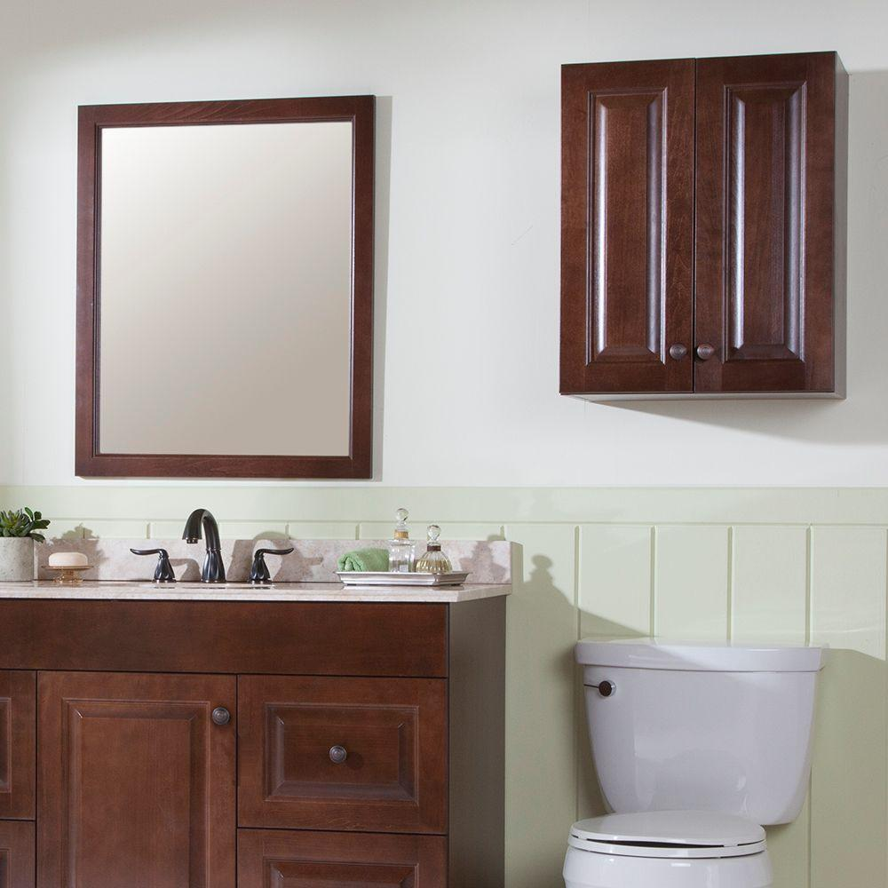 Peachy Glacier Bay Regency 21 In W X 26 In H X 8 In D Over The Toilet Bathroom Storage Wall Cabinet In Auburn Download Free Architecture Designs Lectubocepmadebymaigaardcom