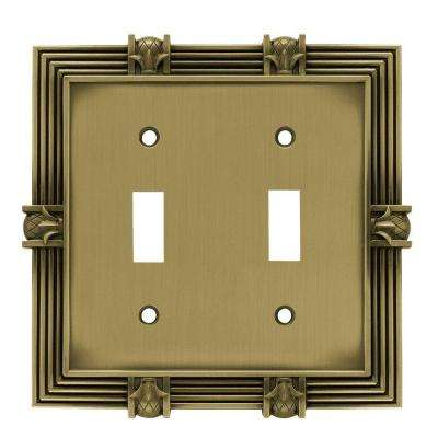 Pineapple Decorative Double Switch Plate, Tumbled Antique Brass