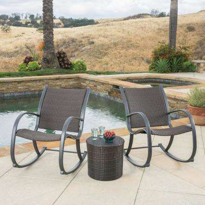 Gracie's Dark Brown 3-Piece Wicker Outdoor Bistro Set
