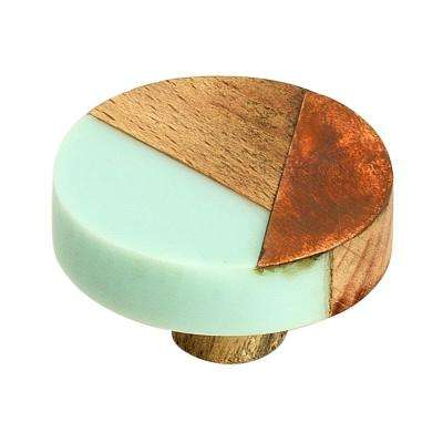 Fusion 1-1/2 in. (38 mm) Cyan Wood and Copper Cabinet Knob