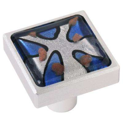 1.37 in. Royal Blue Square Aluminum and Glass Cabinet Knob