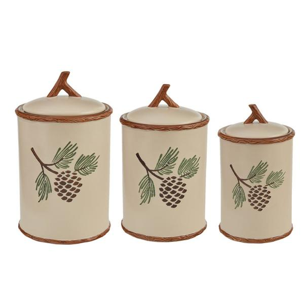 Park Designs Pinecroft 3 Piece Ceramic Canister Set With Matching Airtight Lids 692 694 The Home Depot