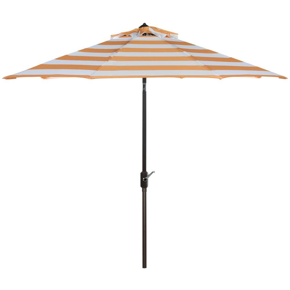 Iris 9 ft. Aluminum Market Auto Tilt Patio Umbrella in Orange/White