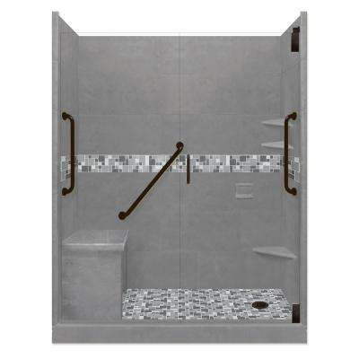 Newport Freedom Grand Hinged 42 in. x 60 in. x 80 in. Right Drain Alcove Shower Kit in Wet Cement and Black Pipe