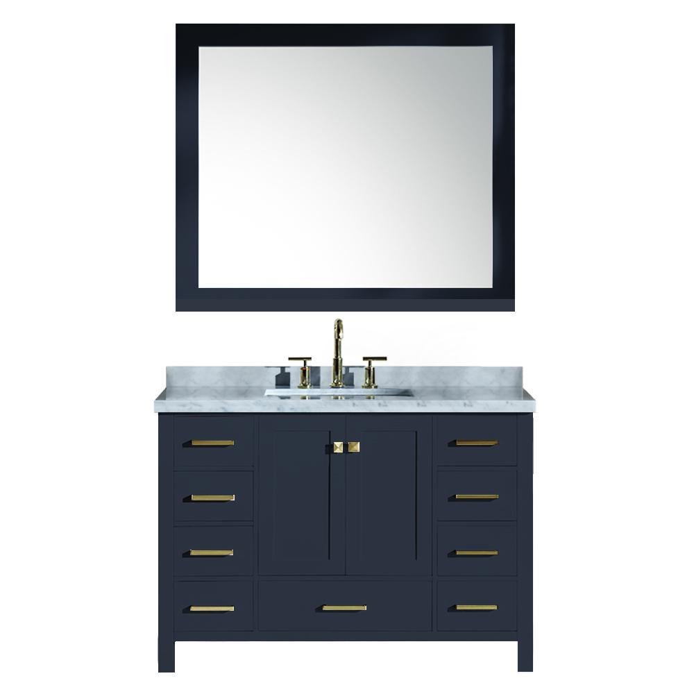 Ariel 49 in. W x 22 in. D Bath Vanity in Midnight Blue w/ Marble Vanity Top in Carrara White w/ White Basin and Mirror