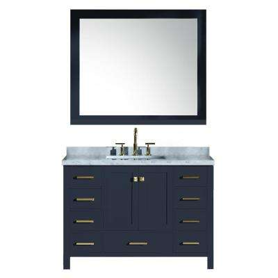 49 in. W x 22 in. D Bath Vanity in Midnight Blue w/ Marble Vanity Top in Carrara White w/ White Basin and Mirror
