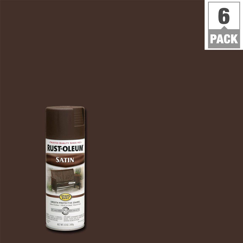 Rust-Oleum Stops Rust 12 oz. Protective Enamel Satin Dark Brown Spray Paint (6-Pack)