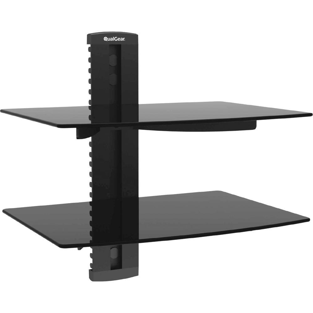 Qualgear Universal Dual Shelf Wall Mount For A V Components Up To 8kg 17 6 Lbs X2 Black Qg Db 002 Blk The Home Depot