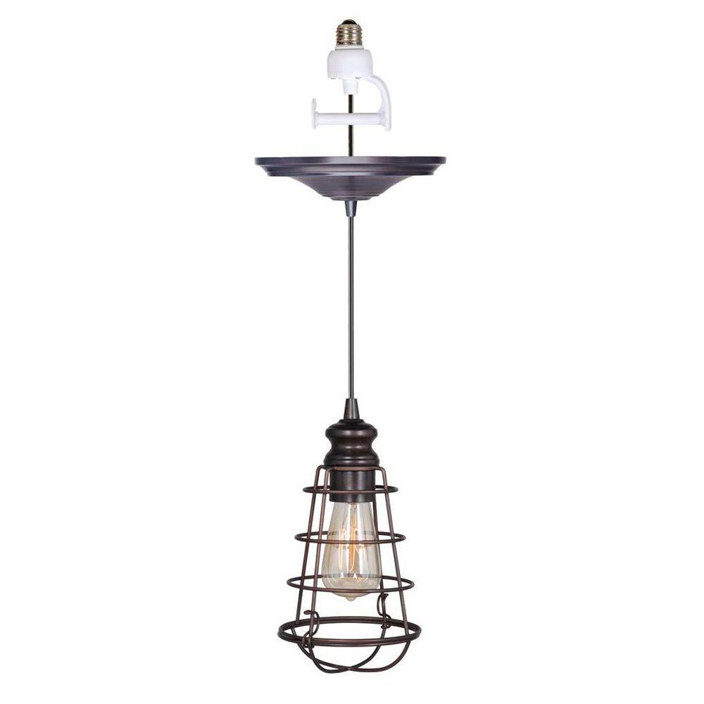 Worth Home Products Instant Pendant 1-Light Recessed Light Conversion Kit Brushed Bronze Wire Cage Shade