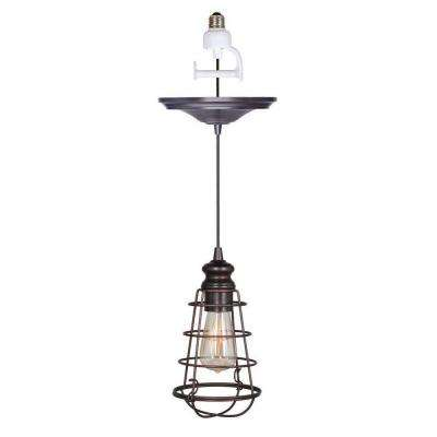 Instant Pendant 1-Light Recessed Light Conversion Kit Brushed Bronze Wire Cage Shade