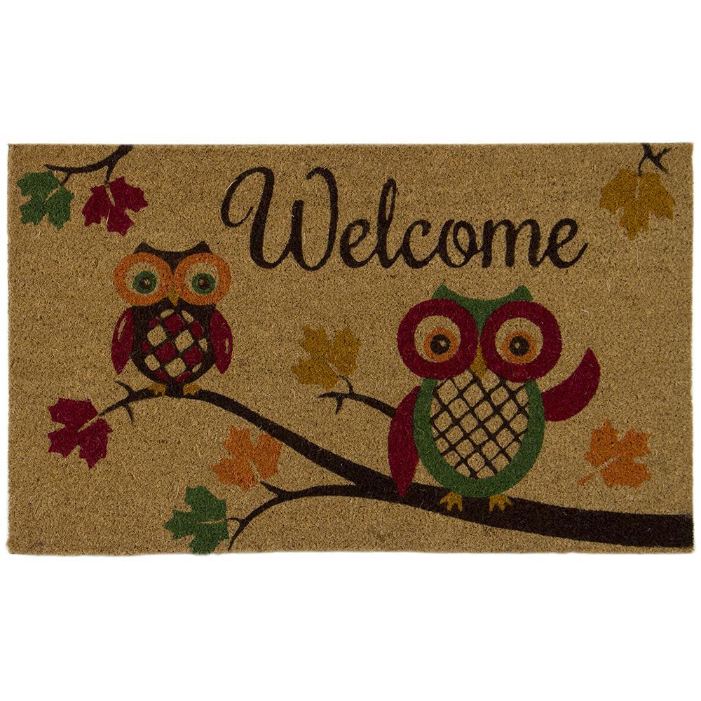 Autumn Owls 18 in. x 30 in. Door Mat