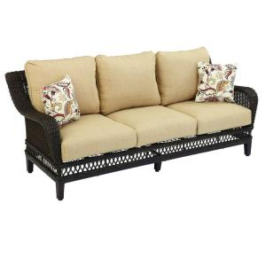 Hampton Bay Woodbury Wicker Outdoor Patio Sofa With Textured Sand  Cushion D9127 S   The Home Depot