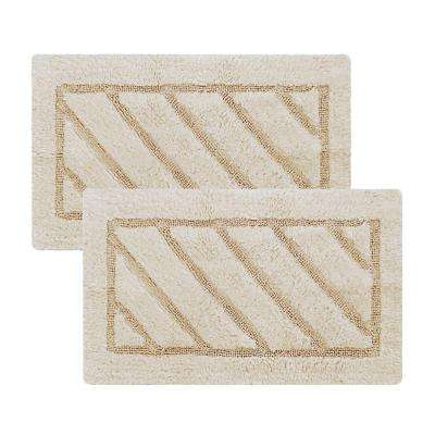 Ruby Collection 17 in. x 24 in. Heavyweight Hand Tufted Cotton Bath Rug Mat in Beige (Set of 2)