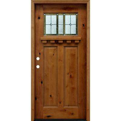 36 in. x 80 in. Craftsman Rustic 1/4 Lite Stained Knotty Wood Alder Prehung Front Door with 6 in. and Dentil Shelf