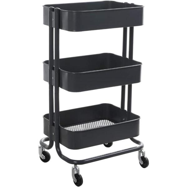 17.7 in. x 13.7 in. x 31.1 in. 3-Tier Metal Mobile Utility Cart in Gray