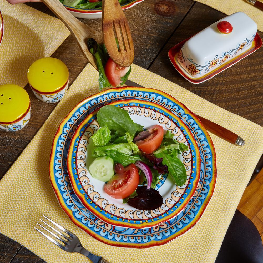 Duomo 32-Piece Patterned Multicolor/Italian Design Stoneware Dinnerware Set (Service for 8)