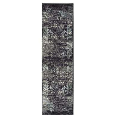 Matrix Jet Black/Titanium Rectangle 2 ft. 1 in. x 7 ft. 5 in. Indoor Runner Rug