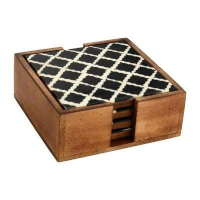 4-Piece Black and White Moroccan Tile Coaster Set in Box