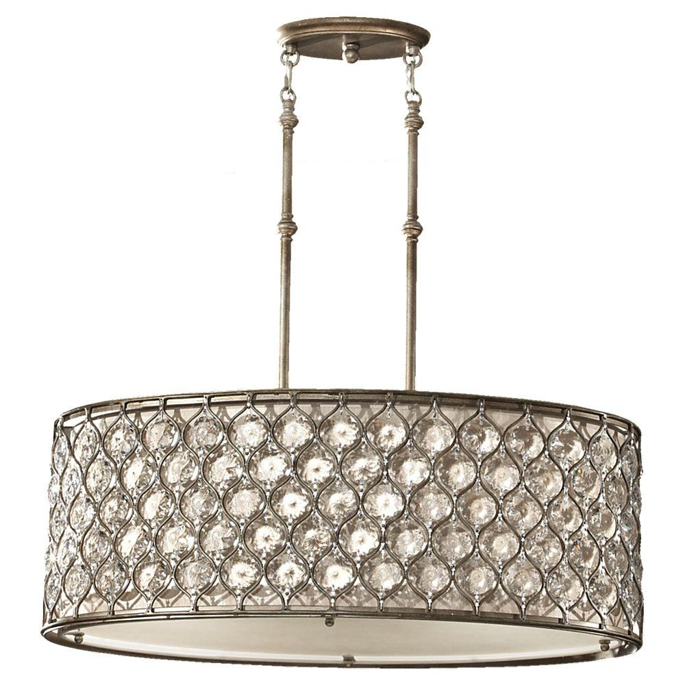 Feiss Lucia 3 Light Burnished Silver Large Pendant F2569 3bus The Home Depot